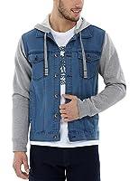 Zobello Men's Hooded Denim Jacket