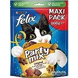 Felix Party Mix Original Kattensnacks met Kip-, Lever- en Kalkoensmaak, doos van 5 (5 x 200g)