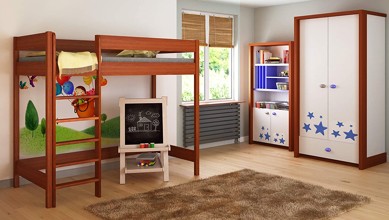 Childrens Beds Home Camas Altas para niños Niños Juniors 140x70, 160x80, 180x80, 180x90, 200x90 Sin colchón Incluido y Escalera en el Frente (Borde Largo) ...
