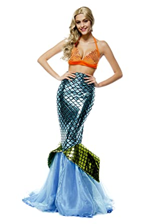 db7a71c24c52 Halloween Women Shiny Mermaid Costume Adult Party Bling Mermaid Dress  Cosplay Outfit