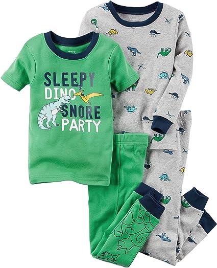 49710667b80a Amazon.com  Carter s Boys  12M-8 4 Piece Dinosaur Print Pajama Set ...