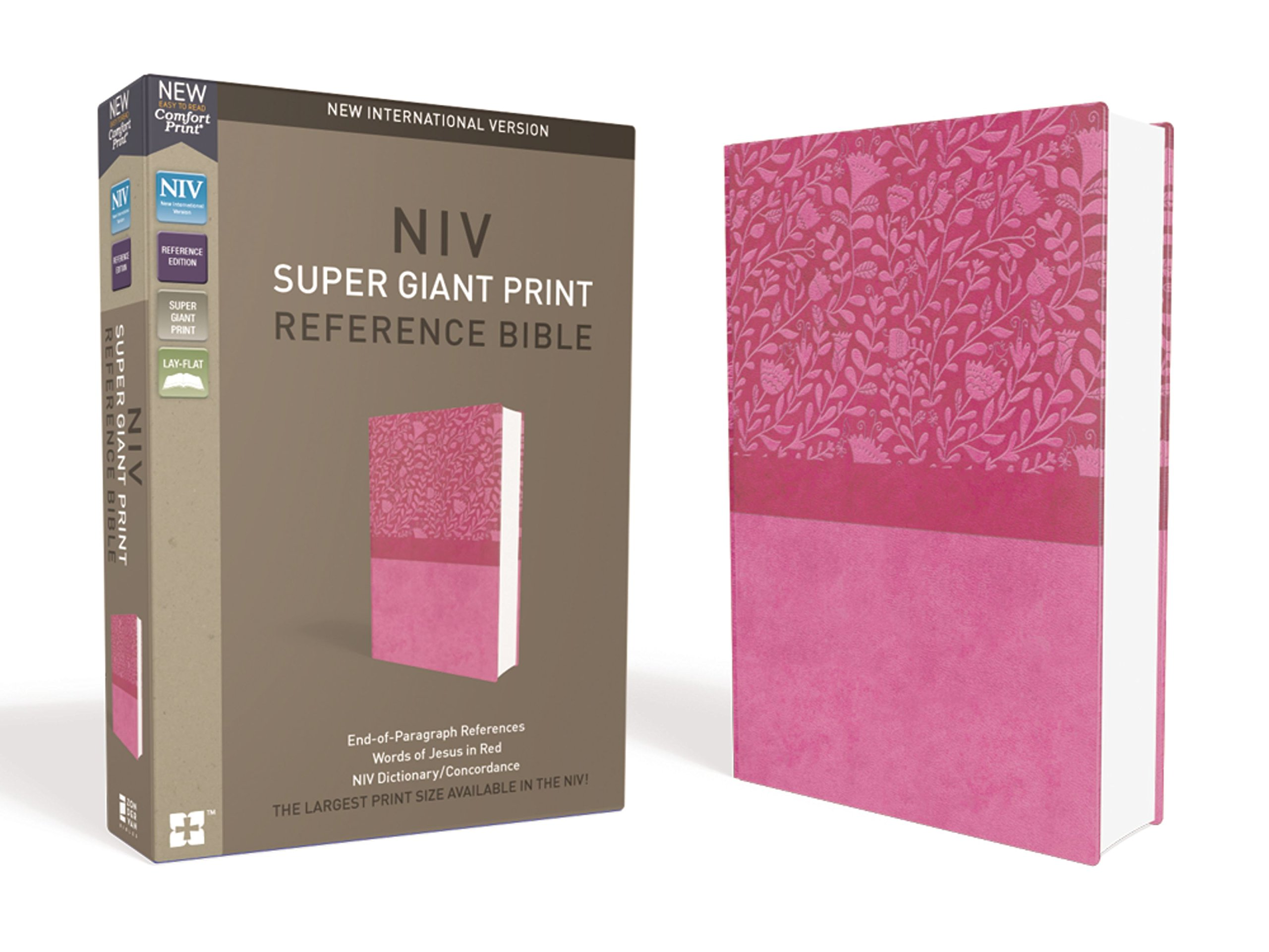 NIV, Super Giant Print Reference Bible, Leathersoft, Pink, Red ...