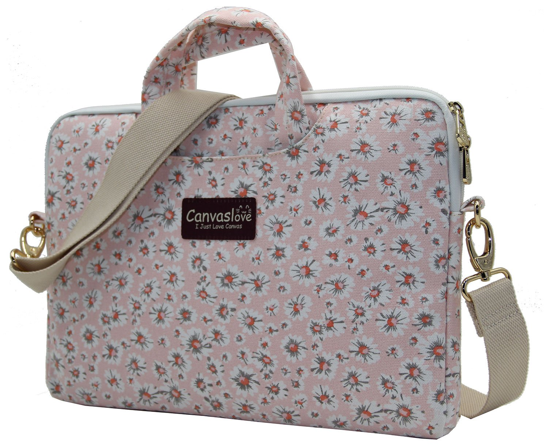 Canvaslove Pink Chrysanthemum Pattern Canvas Laptop Shoulder Messenger Bag Case Sleeve for 14 Inch 15 Inch Laptop