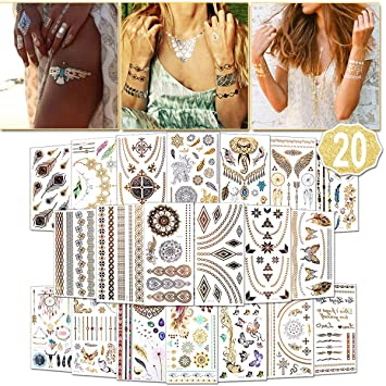 374f7d797 Temporary Tattoos for Women (Waterproof Festival Tattoos), 20 Sheets Gold  Tattoo Stickers,