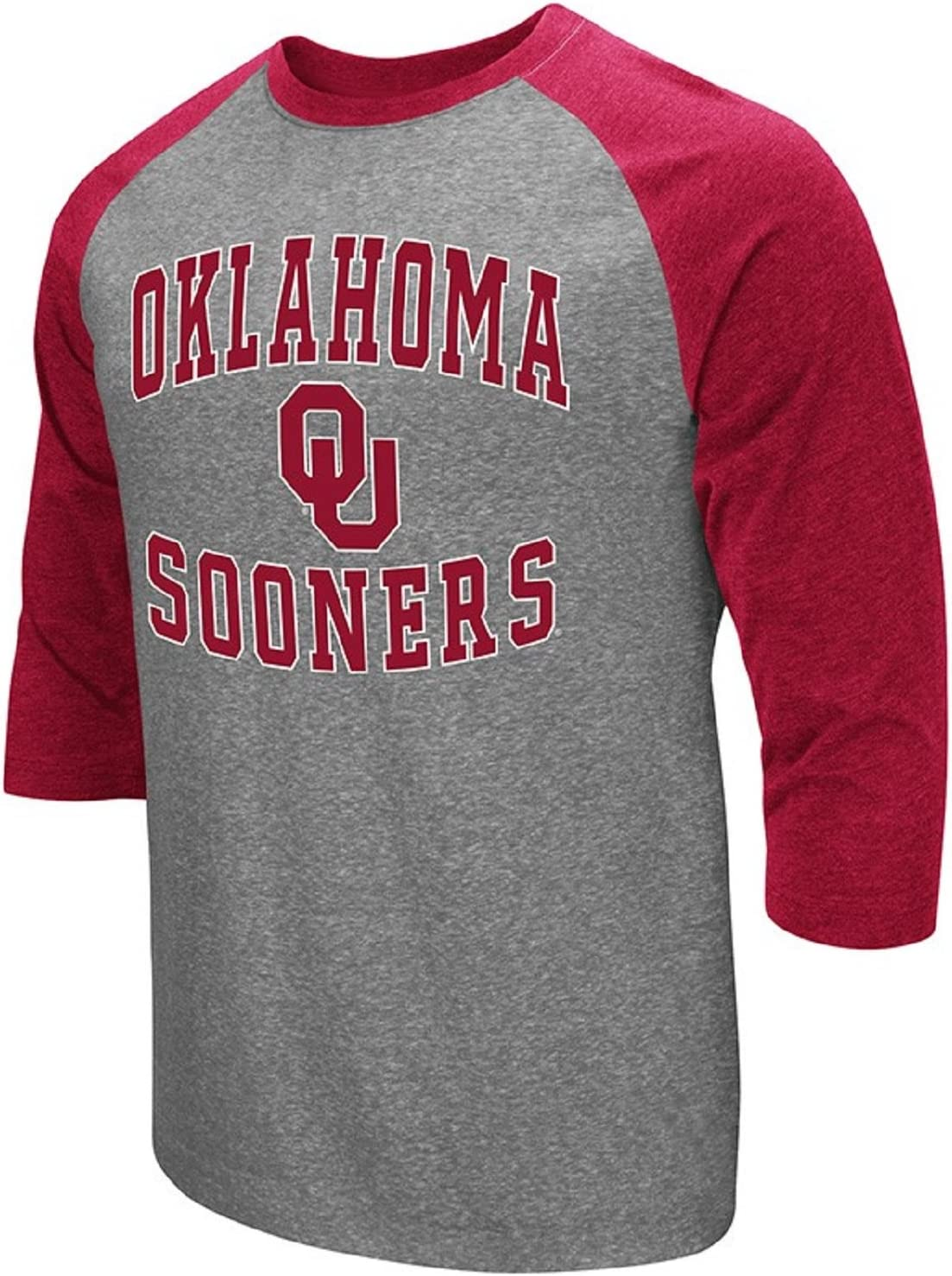 Colosseum Mens NCAA-Raglan-3//4 Sleeve-Heathered-Baseball T-Shirt