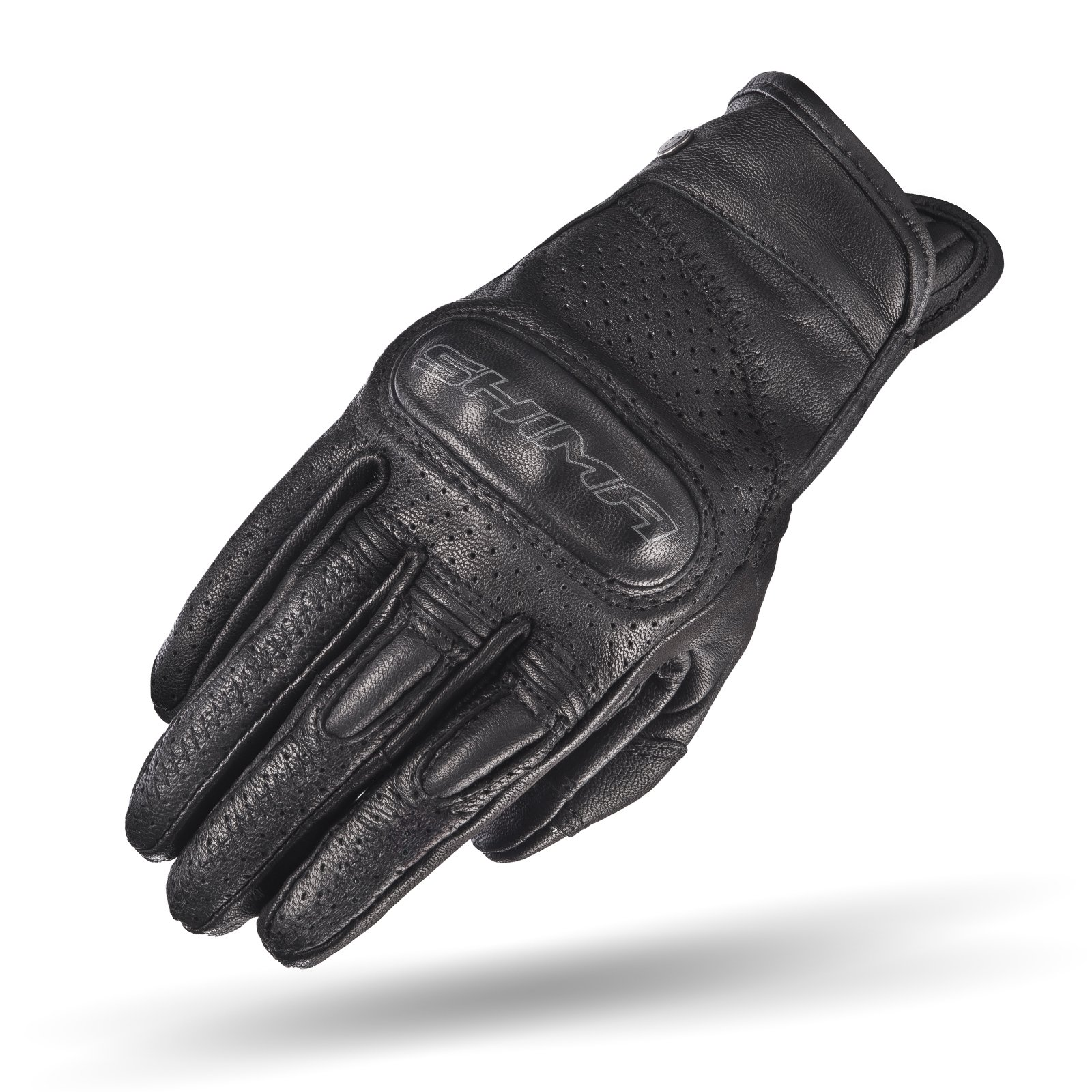 SHIMA CALIBER LADY, Women Retro Vintage Custom Summer Leather Motorcycle Gloves (XS/S/M/L) (M, Black)