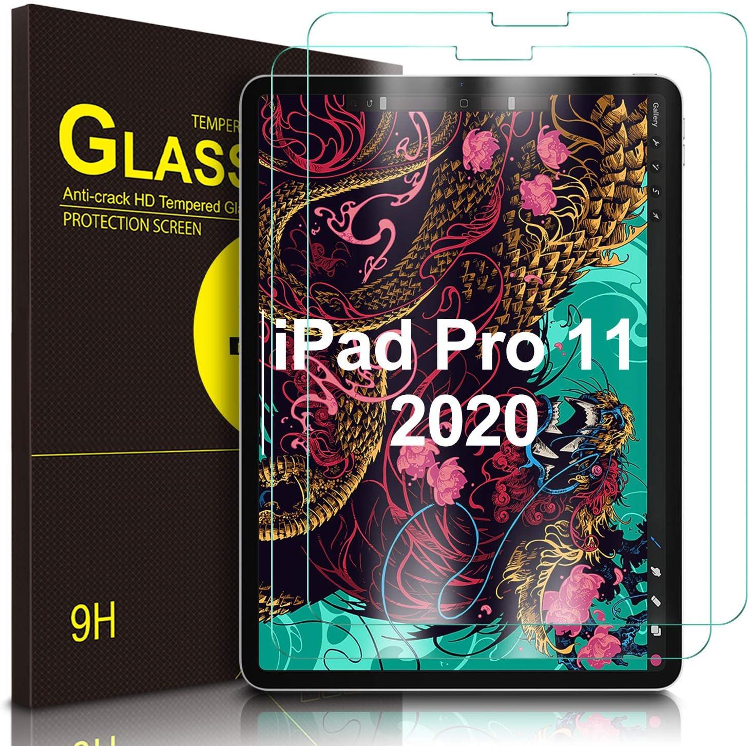 IVSO Templado Protector para iPad Pro 11 2020, Premium Cristal de Pantalla de Vidrio Templado para Apple iPad Pro 11 2020, 2 Pack