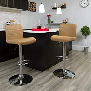 Flash Furniture Contemporary Cappuccino Vinyl Adjustable Height Barstool with Rolled Seat and Chrome Base