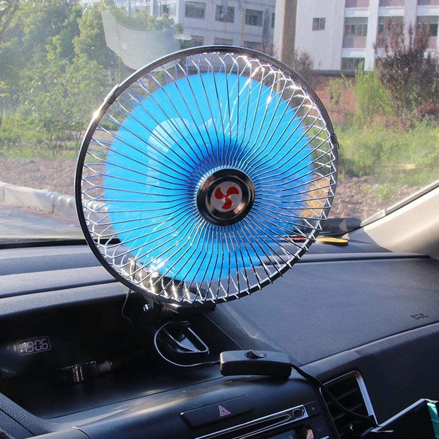 12V Powered Portable Auto Vehicle Car Fan Oscillating Cooling with Clip Blue