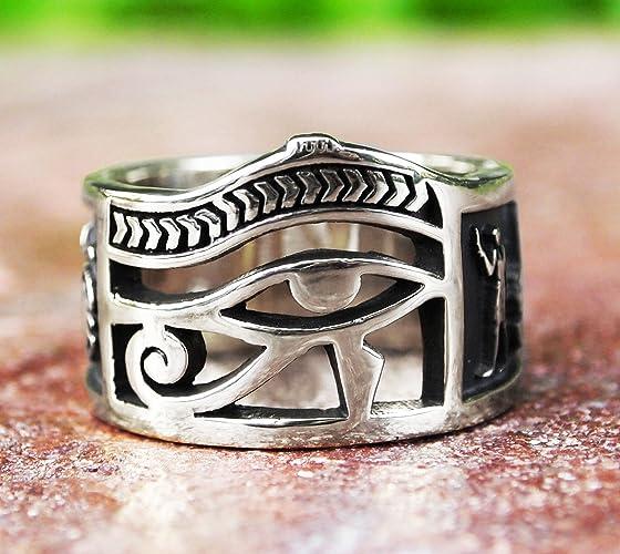 Amazon Egyptian Eye Of Horus Ankh Ring Scarab Beetle In 925