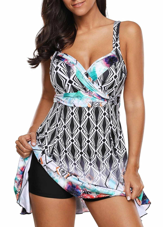 Crazycatz@ WomensSwimdress with Boyshort Two Pieces Tankini Swimsuit