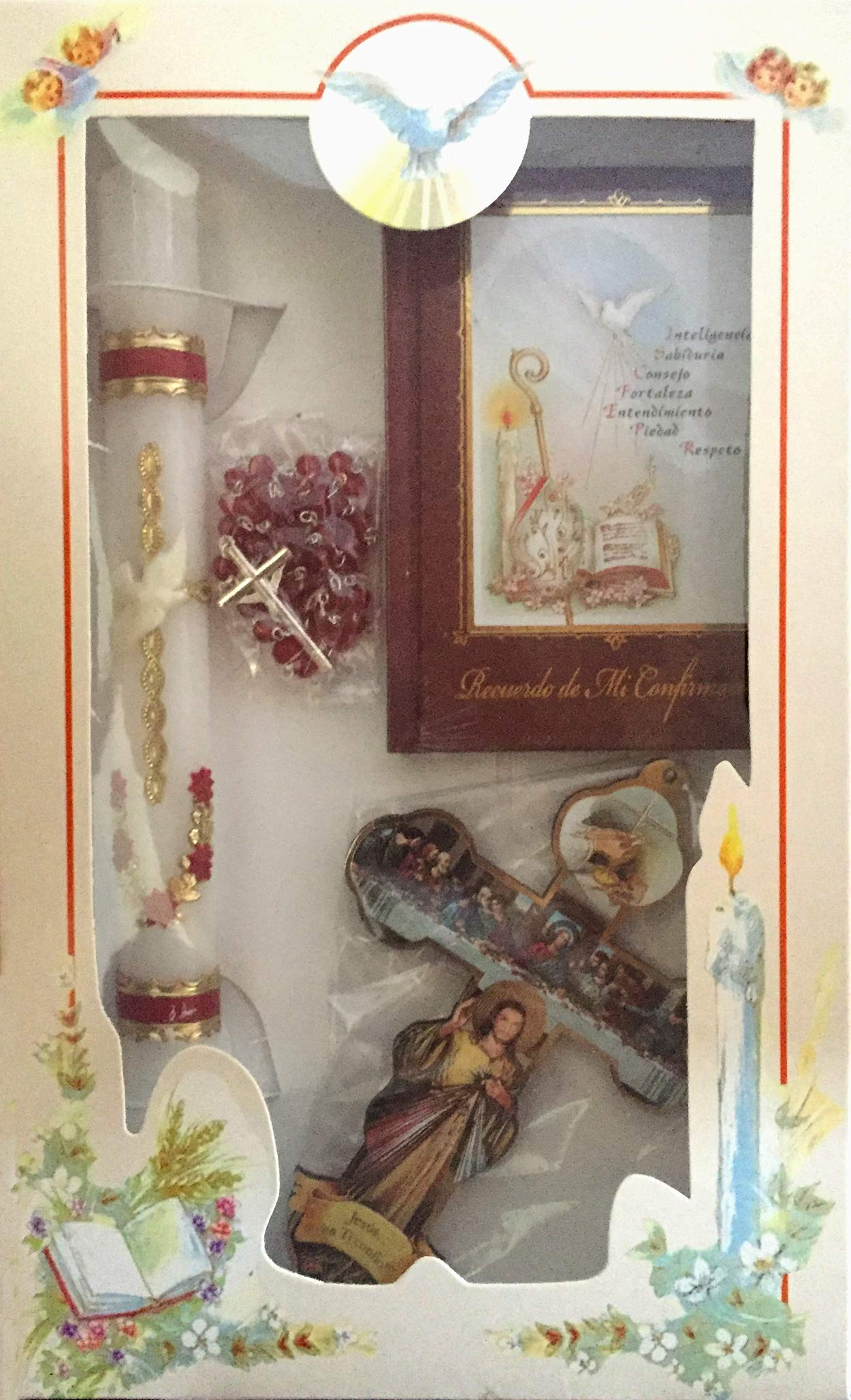 Boys Girls Confirmation Complete Candle Gift Set Keepsake Missal English Rosary Cross