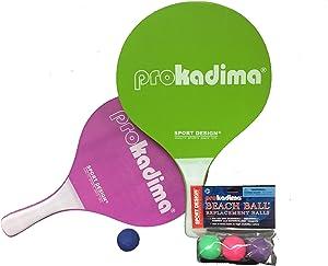 Pro Kadima Paddle Raquet Ball Set-Solid Colors-Bundle Pack (4 Balls Included)