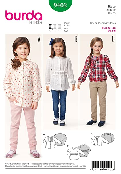 Amazon Com Burda Kids 9402 Blouse Arts Crafts Sewing