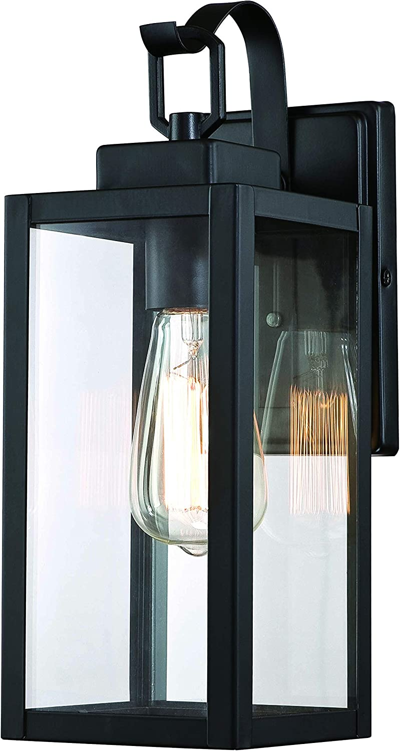 Gruenlich Outdoor Wall Lantern, Wall Sconce Light as Porch Lighting Fixture with One E26 Base Max 100W, Aluminum Housing Plus Glass, Matte Black Finish, ETL Rated, Bulb Not Included