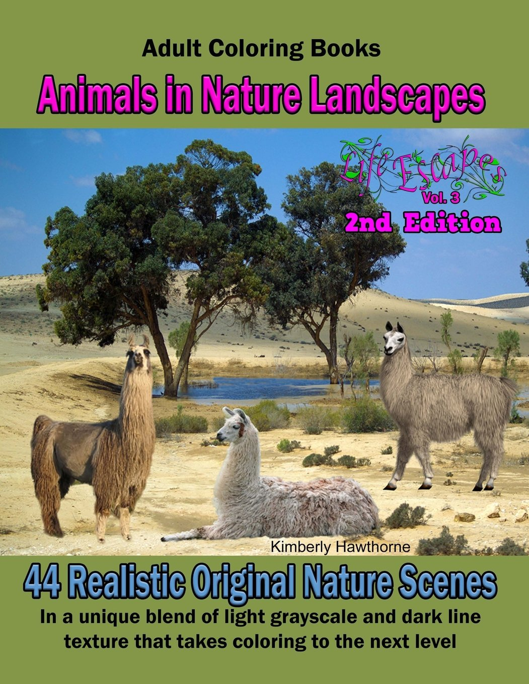 Adult Coloring Books: Animals in Nature Landscapes: 44 Realistic original nature: 44 Realistic Nature Landscapes with wild animals such as elephants, ... Escapes Adult Coloring Books) (Volume 3)