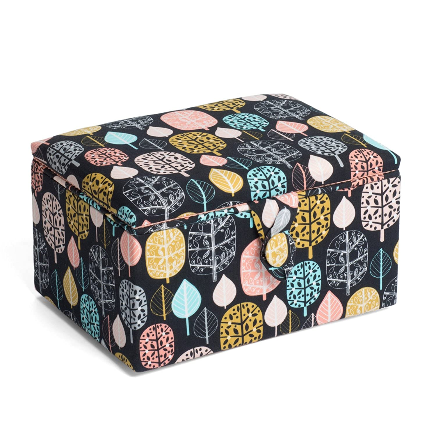 Hobby Gift HGMS/222 | Tree Leaf Print Stool Sewing Basket | 18�x26x16cm Groves