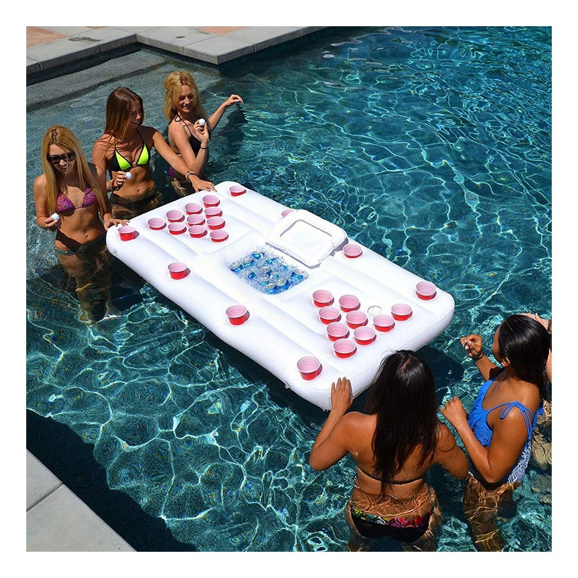 Jeeke Inflatable Serving Bar Beer 28 Cup Table Salad Ice Tray Food Drink Containers Floating Row Water Table Tennis Table Entertainment Ice Trough for Indoor Outdoor Swimming Pool Party (White - 1)