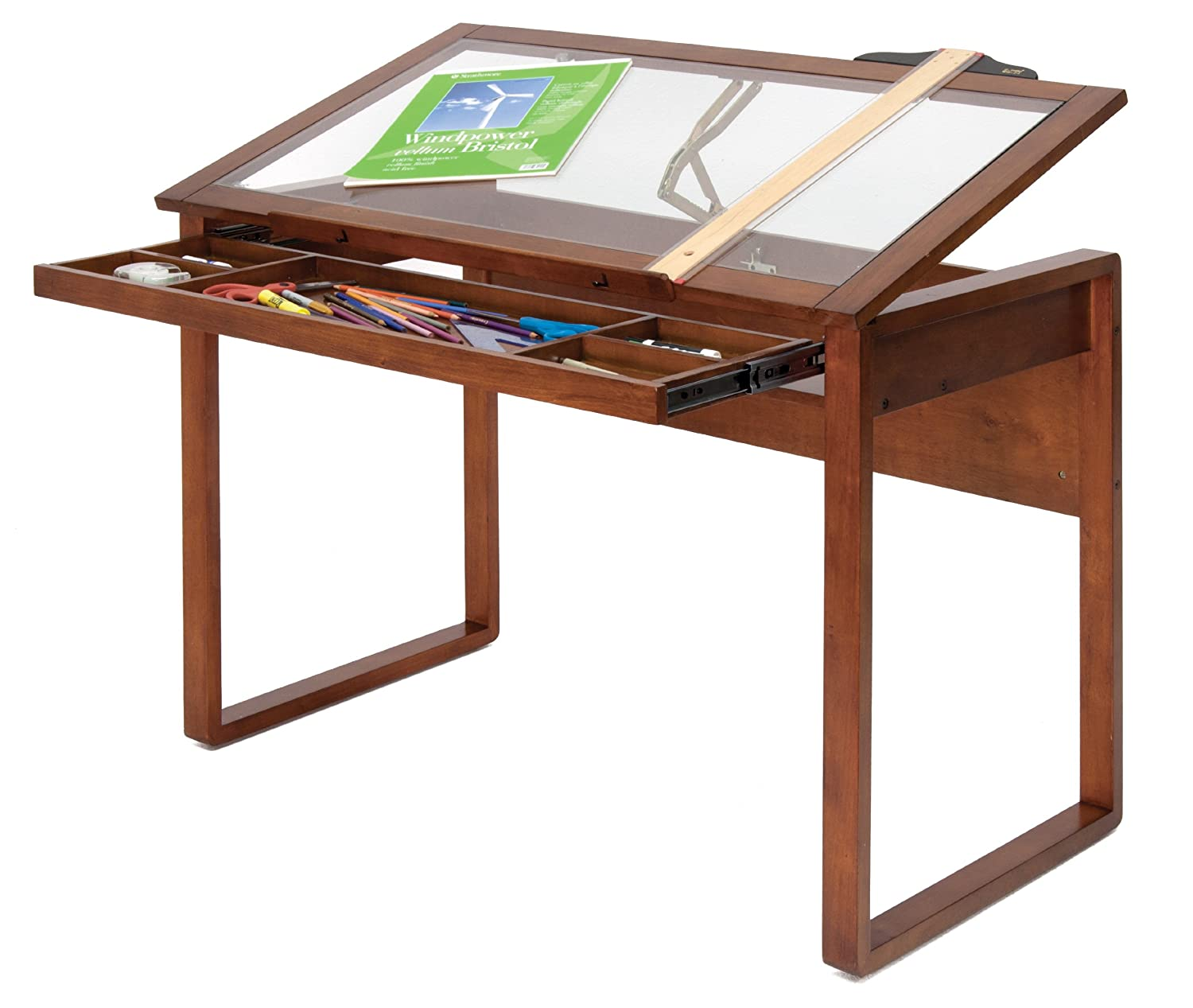 Studio Designs Ponderosa Table, Glass/Wood, Brown: Amazon.co.uk ... for Drawing Table With Light  199fiz