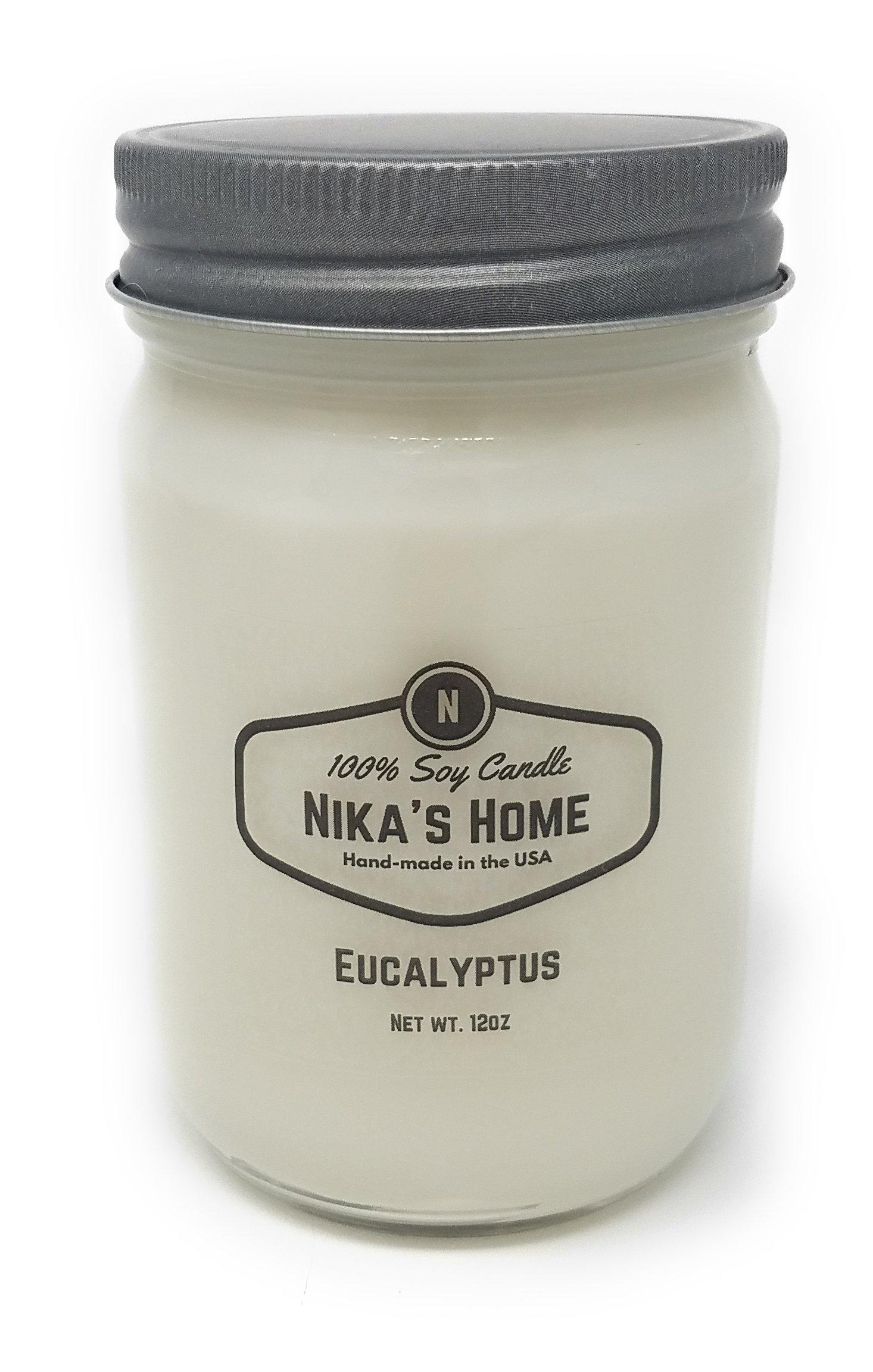 Nika's Home Eucalyptus 12oz Mason Soy Candle