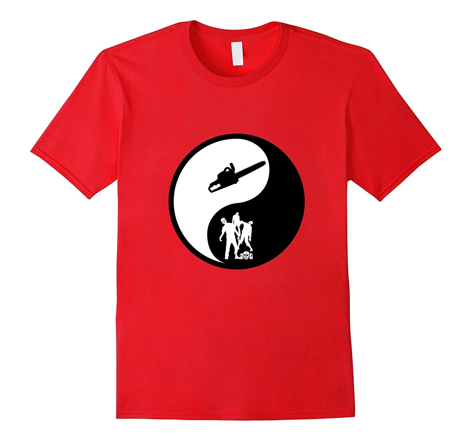 Yin Yang Zombie Chainsaw t shirt fun gift idea-CL