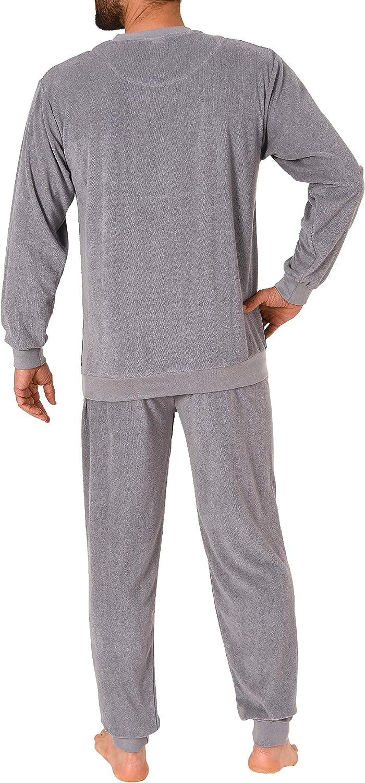 L/ässiger Herren Frottee Pyjama Schlafanzug mit B/ündchen in Streifenoptik 291 101 93 844