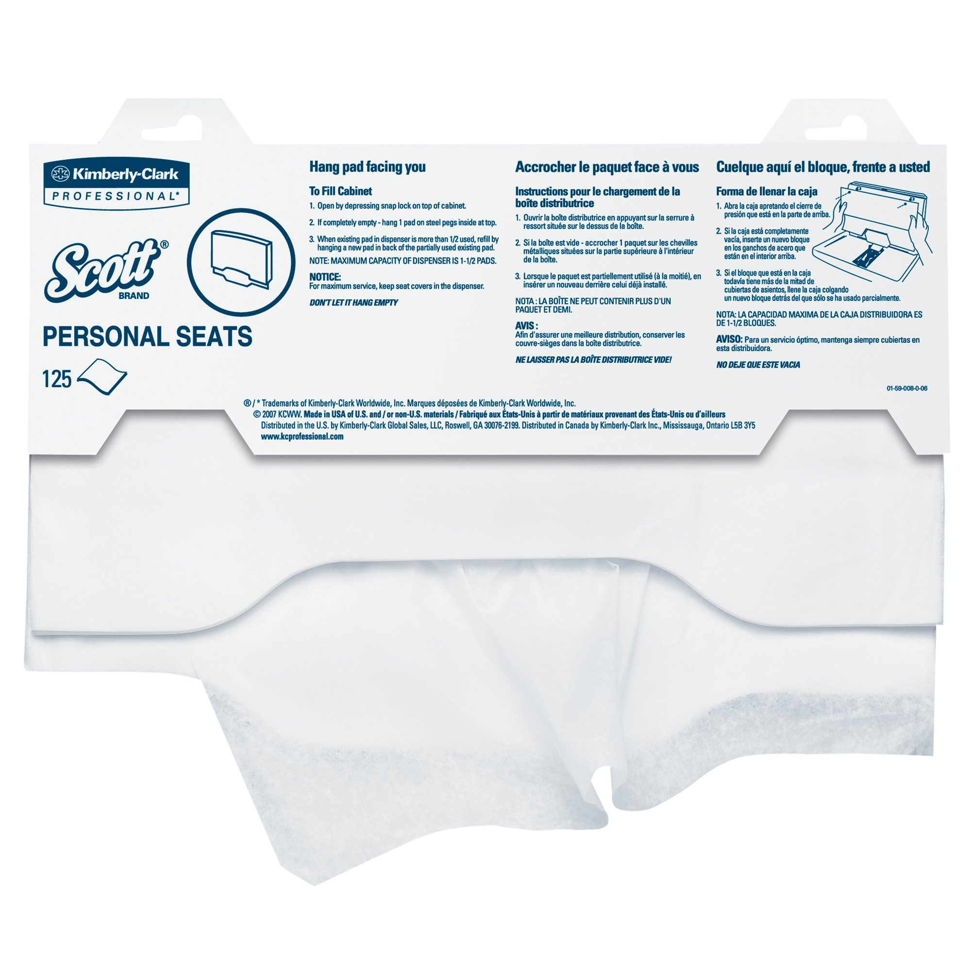 Scott Pro Toilet Seat Cover (07410), White, Disposable, 125 Covers/Pack, 24 Packs/Case