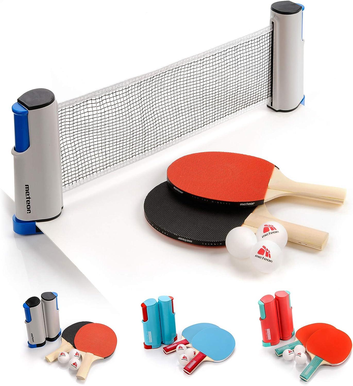 Set Ping Pong 1 Red 2 Raquetas 2 Pelotas Neto para Tenis de Mesa Longitud Ajustable hasta 170 cm Portátil Accesorio para Entrenamiento y Actividades al Aire Libre y Deportes