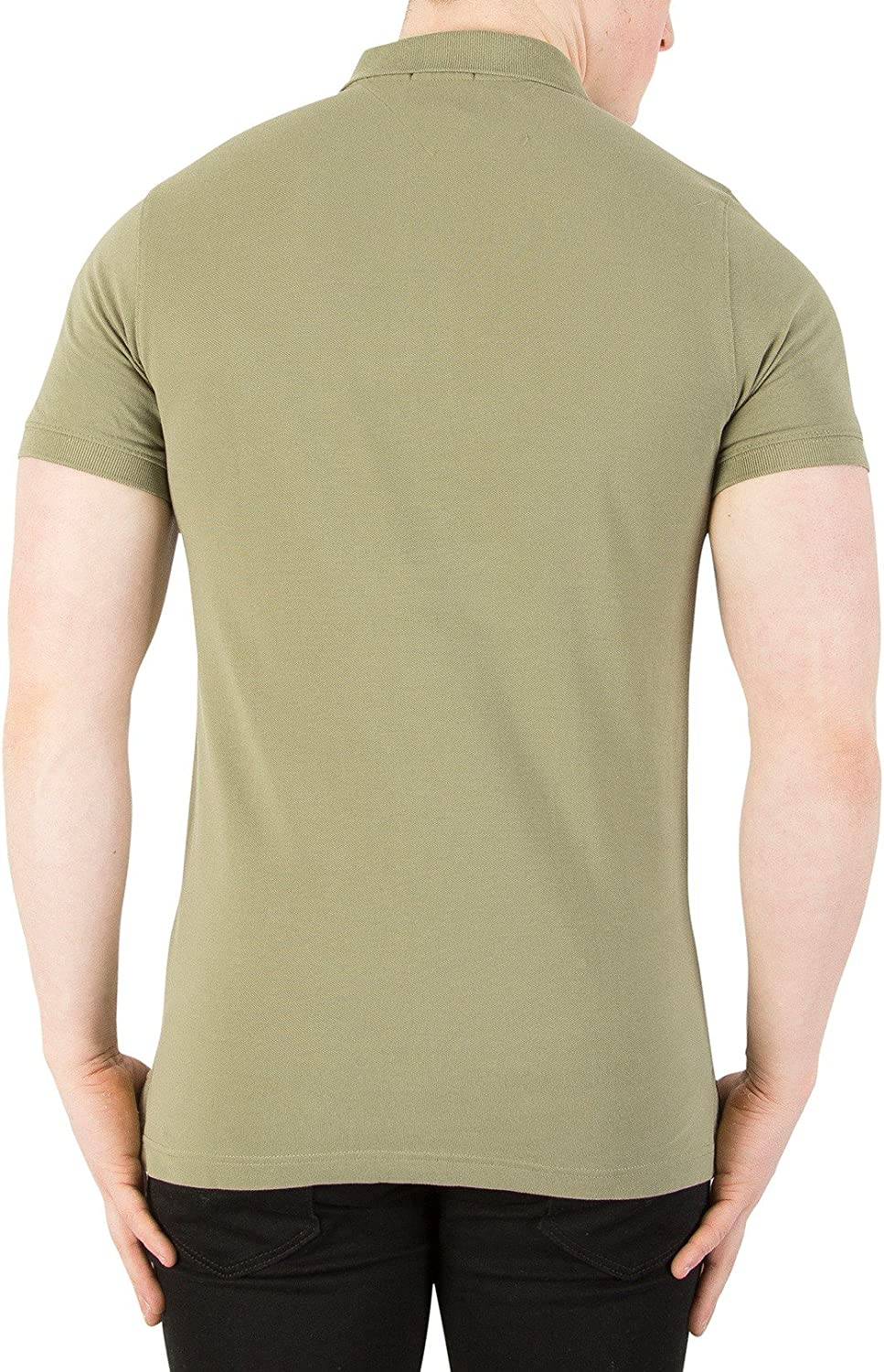 Tommy Jeans Mens Basic Slim Polo Shirt Green