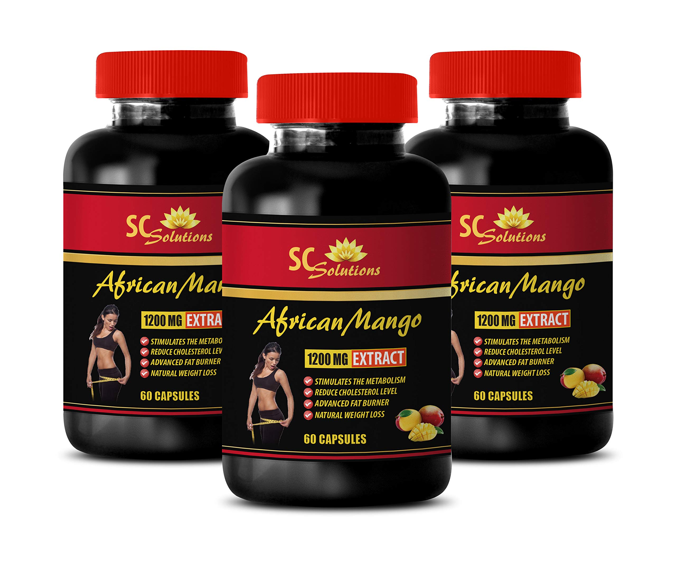 Anti oxidant Supplement - African Mango Extract 1200MG - African Bush Mango - 3 Bottles (180 Capsules)