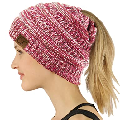 C.C BeanieTail Soft Stretch Cable Knit Messy High Bun Ponytail Beanie Hat 39065e3d687