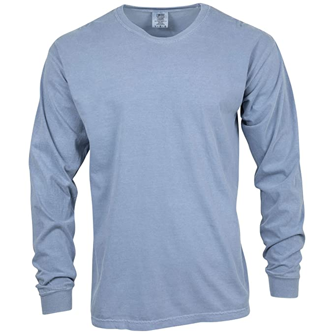 Comfort Colors Men's Adult Long Sleeve Tee, Style 6014, Blue Jean, X-Large