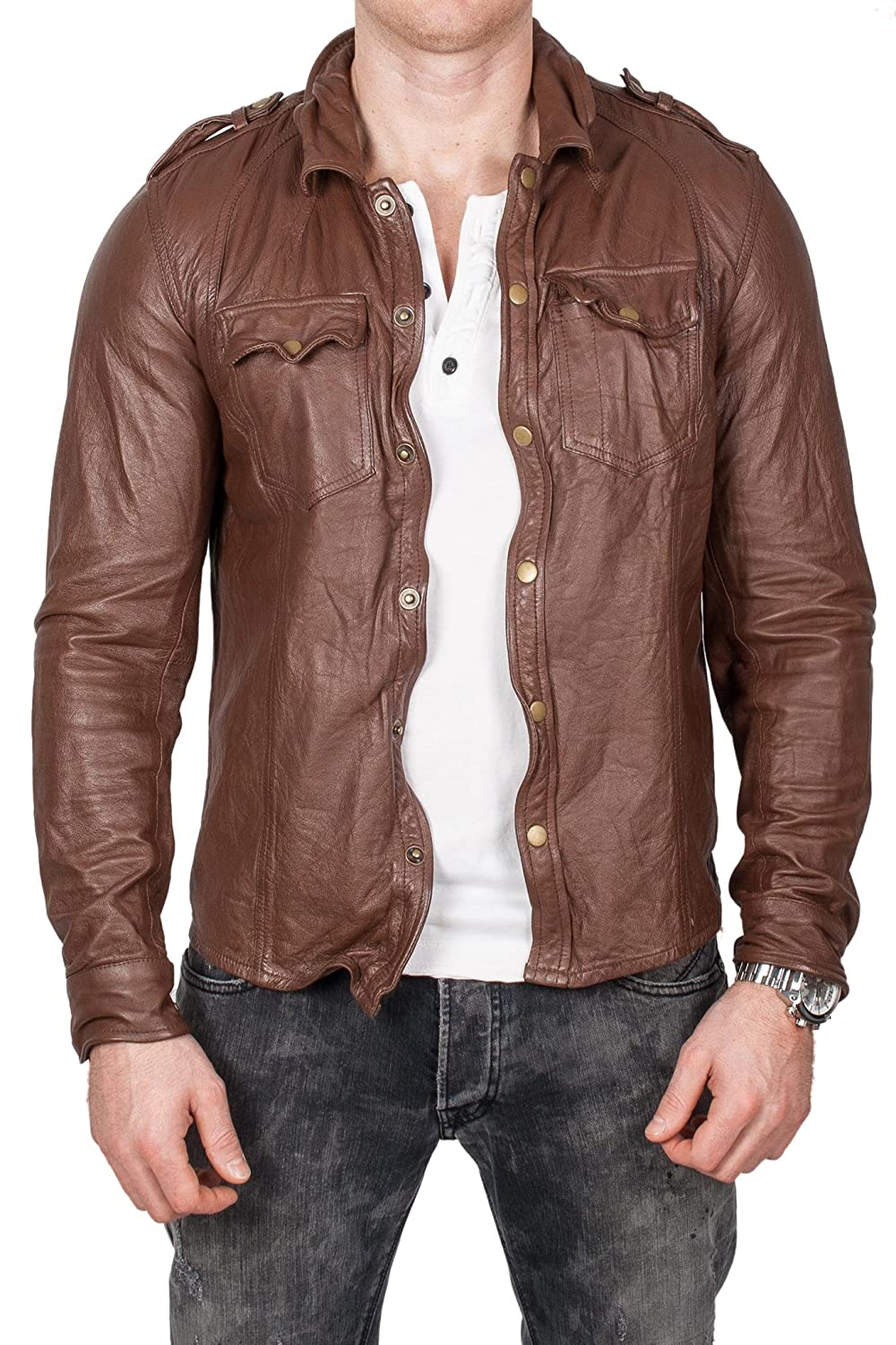 """genuine sheepkin leather shirt/ jacket by """"lines by cris d. fedd"""", mocca"""
