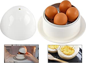 HOME-X Microwave Egg Boiler with Saucer for Hard-Boiled or Soft Boiled Eggs, Egg Microwave Cooker No Piercing Required, Dishwasher Safe-Up to 4 Eggs