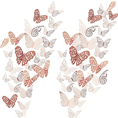 72 Pieces Butterfly 3D Wall Decals Sticker Decor Metallic Art Removable Sticker Set for Home Room Classroom Offices Kids Girls Bedroom Nursery Party Decor (Rose Gold): Baby