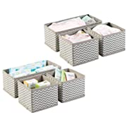 mDesign Soft Fabric Dresser Drawer and Closet Storage Organizer for Kids/Toddler Room, Nursery, Playroom, Bedroom - Chevron Zig-Zag Print - Organizing Bins in 2 Sizes - Set of 6 - Taupe/Natural