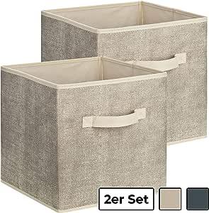 Conjunto de 2 cajas de almacenamiento cuadradas de tela de 1PLUS, caja universal de 30 x 30 x 30 cm para ordenar y almacenar en el armario o en la estantería -