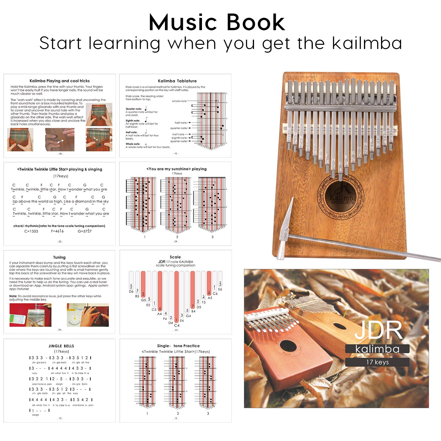 JDR 17 Keys kalimba, Thumb Piano with EVA Waterproof Hard Protective Case, Tuning Hammer and Music book, Unique and great birthday gift for musicians or kids without any musical basis by JDR (Image #4)