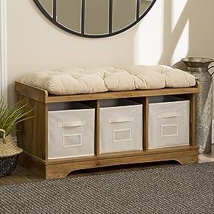 "WE FurnitureStorage Bench, 42"", Barnwood"