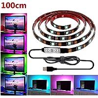 USB LED Strip Light,LHYAN TV Backlight Strip,DC5V 5050 Waterproof RGB Changing Color Strip,Accent Night Monitor Lighting for Flat Screen HDTV TV Desktop PC with Mini Controller (3.28ft /100CM)