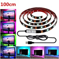 USB LED Strip Light,LHYAN TV Backlight Strip,DC5V 5050 Waterproof RGB Changing Color Strip,Accent Night Monitor Lighting for Flat Screen HDTV TV Desktop PC with Mini Controller(100cm/3.28ft)