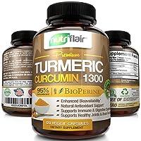 NutriFlair Premium Turmeric Curcumin Supplement (1300mg) with BioPerine Black Pepper...