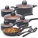 BLACK+DECKER 83375 14 Piece Durable Titanium Nonstick Interior Cookware Set, Multi-Size, Copper