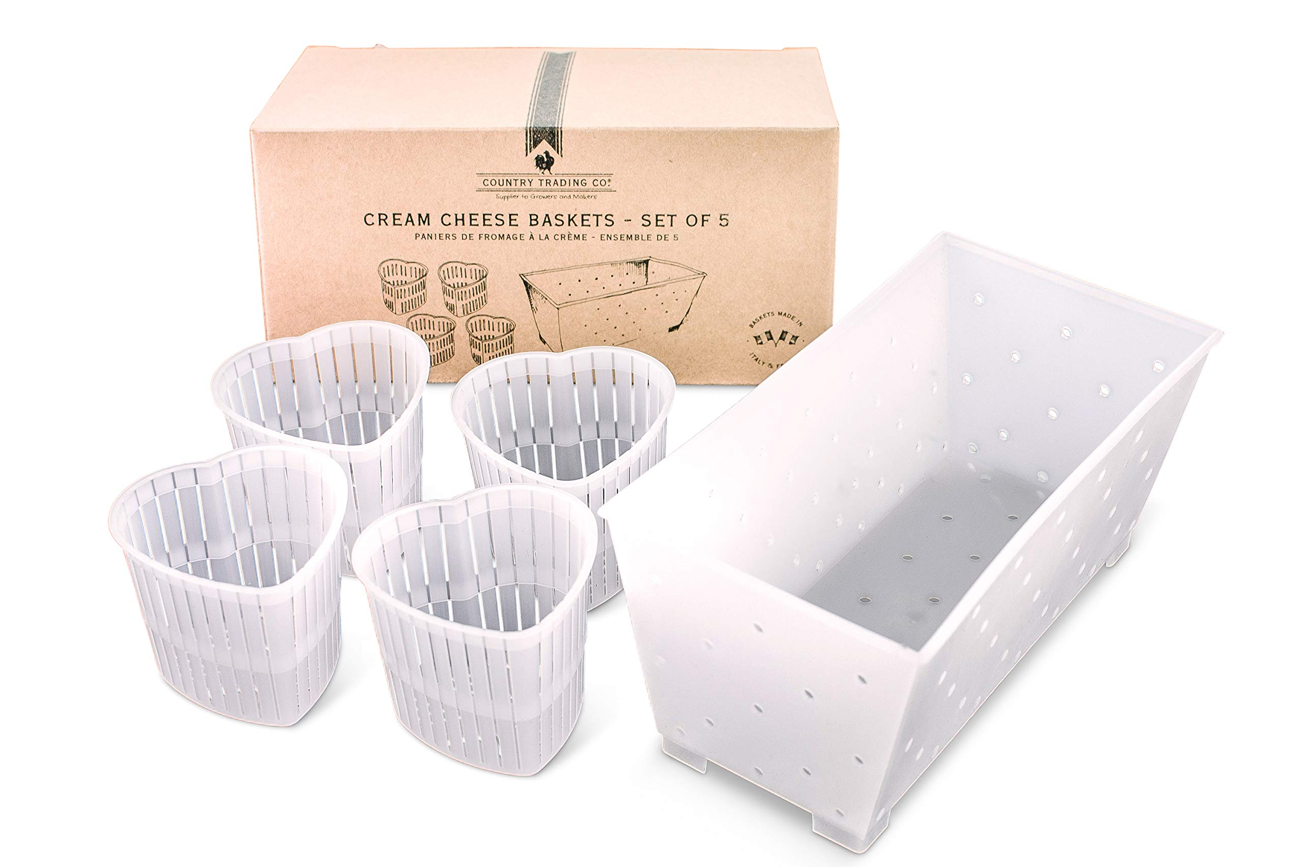 Cream Cheese Making Molds - Set of 5 Draining Baskets for Soft Cheeses and Vegan Cheese