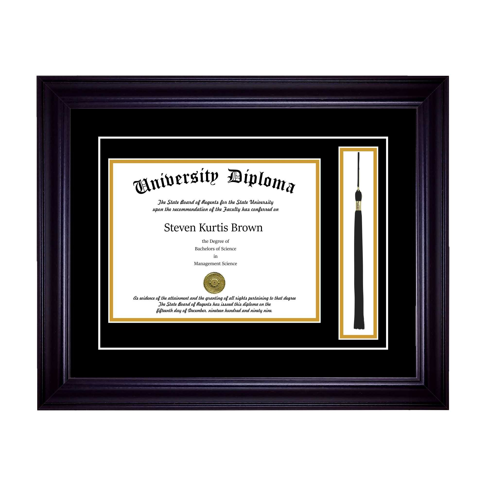 Single Diploma Frame with Tassel and Double Matting for 14'' x 11'' Tall Diploma with Black 2'' Frame