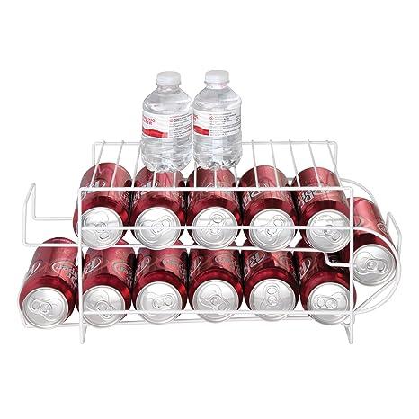 mDesign Juego de 2 organizadores de frigorífico para alimentos - Moderno organizador de cocina para latas de bebida y conservas - Soporte y dispensador de ...