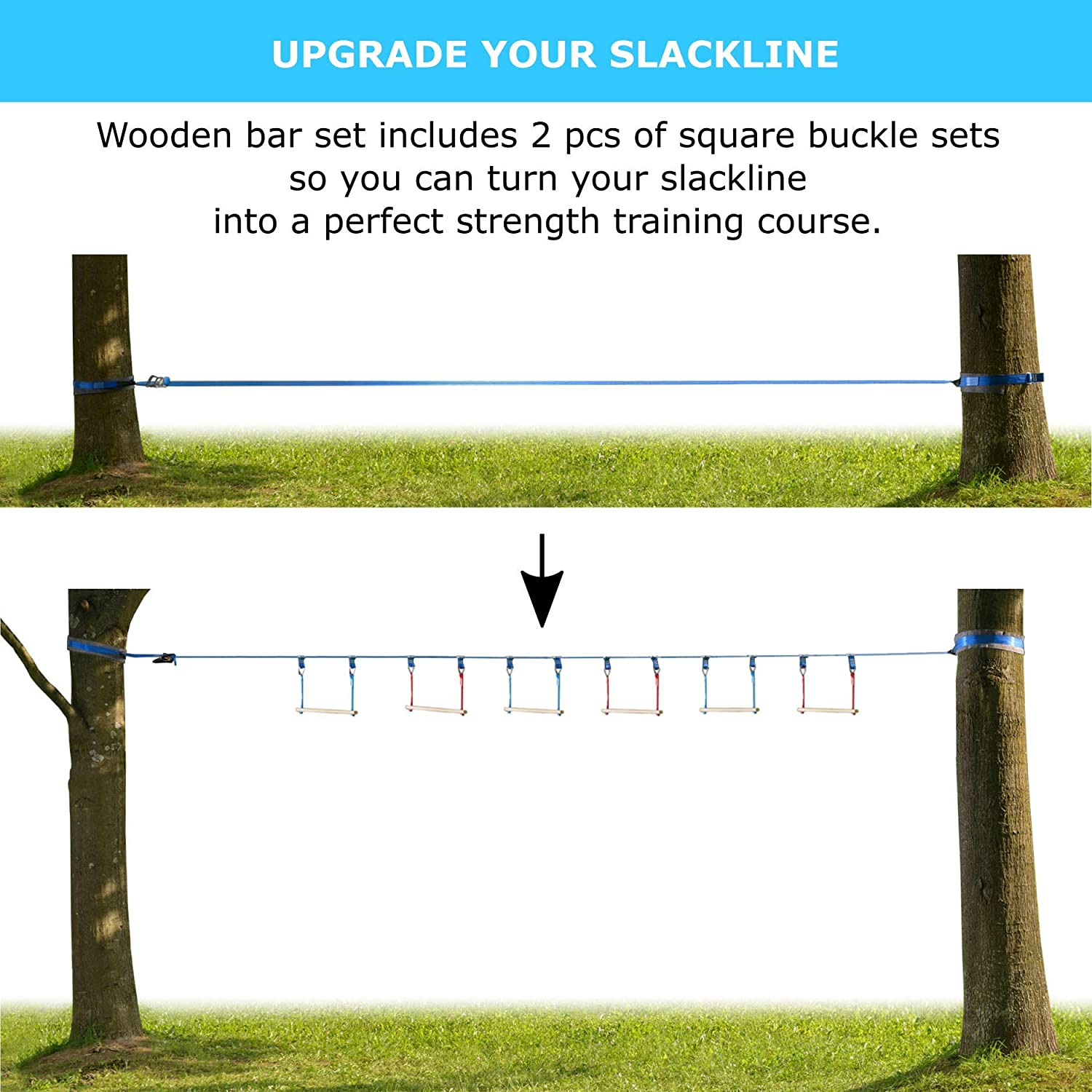 Climbing Rope Ninja Warrior Obstacle Course for Kids 42 Slackline Kit Trapeze Swing Rope Ladder Jungle Gym Monkey Bars Kit for Kids and Adults Wheel Warrior Training Equipment Gymnastic Bar