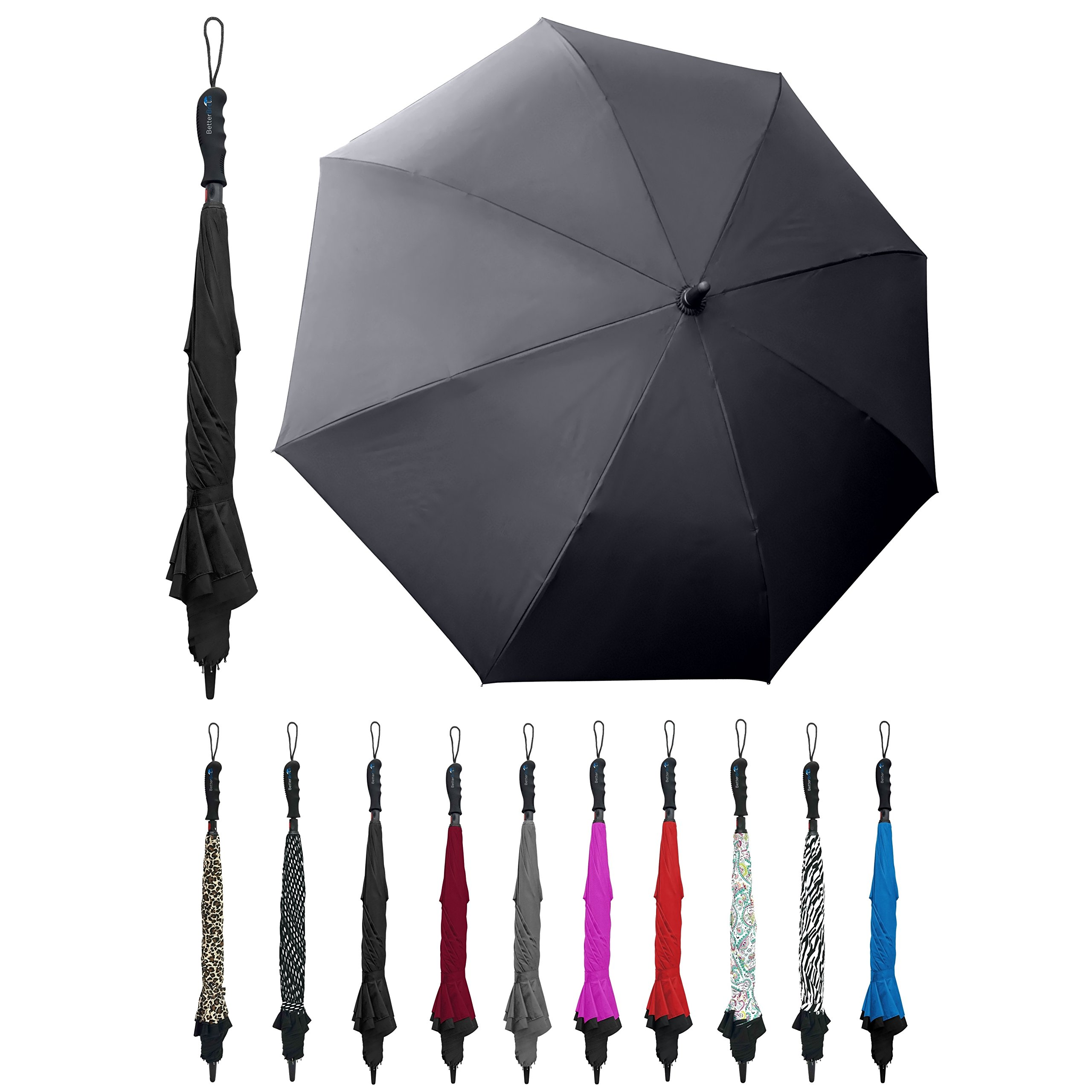 Better BRELLA Wind-Proof, Reverse Open, Upside Down 41.5'' Wide Umbrella (Black)