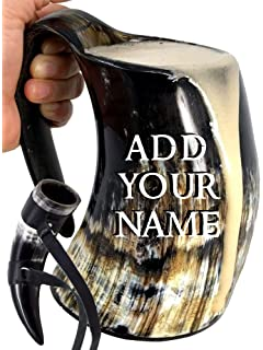 Mythrojan Viking Drinking Tankard with Medieval Buckle leather strap Wine Beer Mead Mug 600 ML Polished Finish