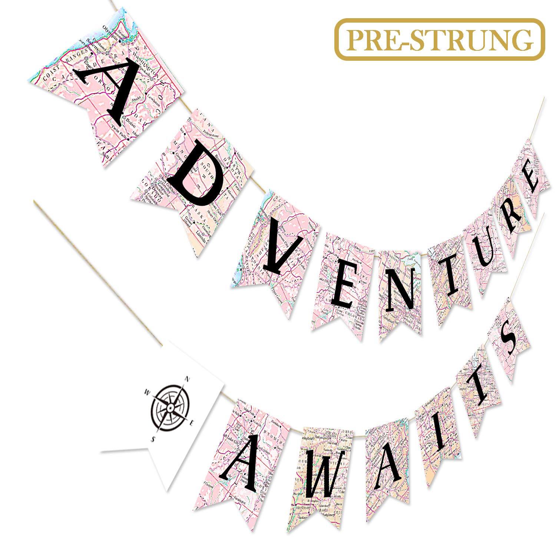 Adventure Awaits Bon Voyage Banner, Travel Themed Party Decorations, Retirement Graduation Map Banner, Moving Relocation Wedding Bachelorette Job Change Farewell Career Change Party Decorations
